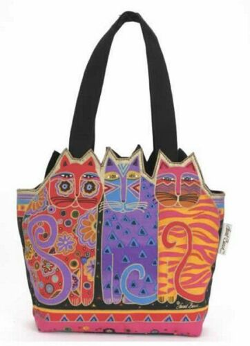 Laurel Burch Bright Rainbow Feline Cat Ears Medium Tote Canvas Bag Handbag NWT