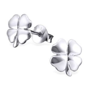 c669217e3 Image is loading Sterling-Silver-Womans-Childrens-Four-Leaf-Clover-Lucky-