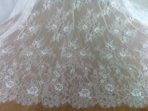 Chantilly Lace eyelash Lace Fabric,flower pattern lace,off  White Chantilly Lace fabric 59 width-Wedding dress  eyelash lace fabric