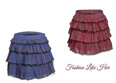 New Ladies School Girl Red Tartan Frilled Ruffle Tiered Checked Skirt Vest Top