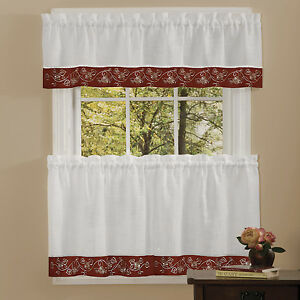 Details about Oakwood Linen Style Kitchen Window Curtains Tiers or Valance  Burgundy