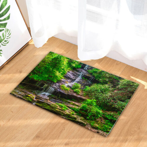 """Small Waterfall River in Forest Shower Curtain Bathroom Waterproof Fabric 71/"""""""