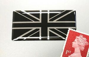 Union-Jack-Flag-Sticker-Domed-Finish-Black-amp-Chrome-50mm