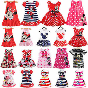 enfants-petite-fille-Mickey-Mouse-Robe-fete-de-princesse-Tunique-decontracte-ete