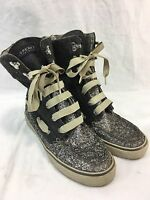 SPERRY TOP-SIDER Womens 7.5 HIGH TOP Sneakers BOAT Shoe BOOTS GRAY AZTEC SPARKLE
