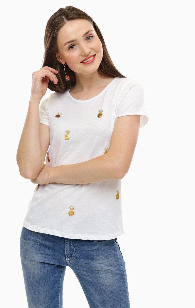 More & & & More Donna T-Shirt 8104 0055 Bianco Ananas Stampa 41da85