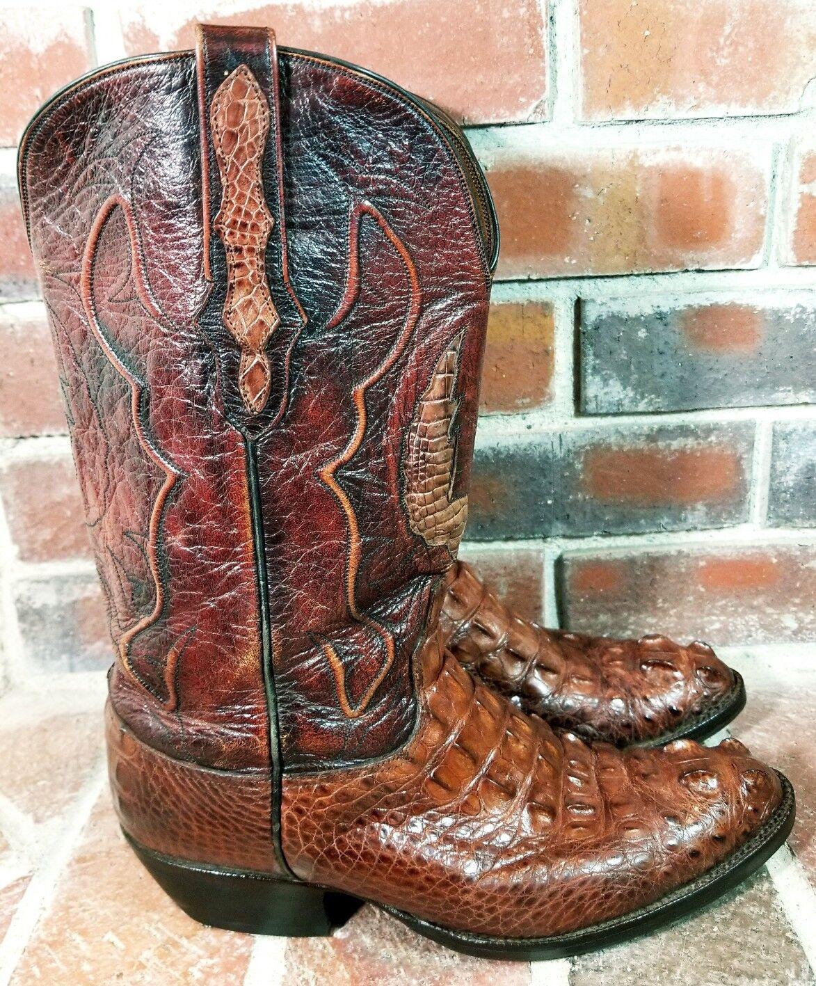 Negro Jack USA Sport moho HORNBACK Cocodrilo Personalizado Roper botas-Para Hombres Talla 9