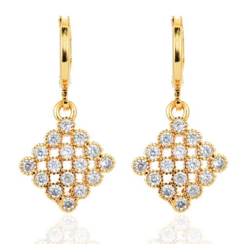 Fashion Femmes carré plaqué or CZ Zircon Cubique Boucles D/'oreilles Bijoux Fiançailles