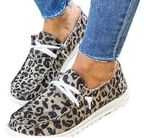 leopard women's canvas loafers slip on shoes ladies casual