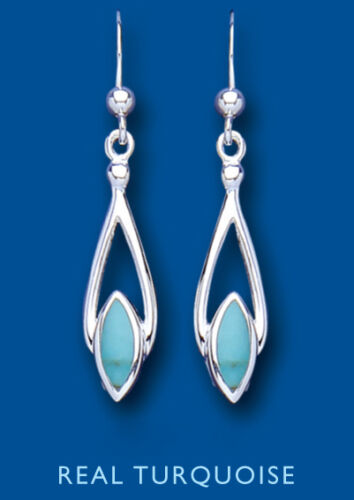 Real Turquoise Silver Earrings Drop Natural Stone Drops 925 Hallmark