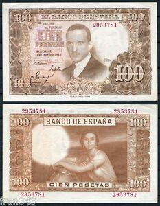 100 Pesetas Année 1953 Romero Torres Sans Serie Sc- Espagne Série 145 A/unc