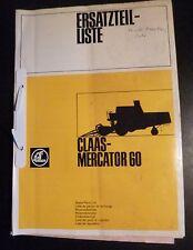 Claas Mähdrescher Mercator 60 Ersatzteilliste