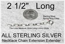 """NEW 2 1/2"""" Long ALL 925 Silver 6mm x 4mm Chain Extension Extender for Necklaces"""