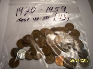 Details about 1920 - 59 Lincoln Wheat Pennies - Lot of 43 Coins - Mixed  Dates & Mint Marks