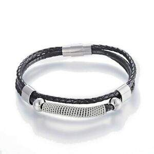 Image Is Loading Braided Leather Amp Stainless Steel Bracelet Uni