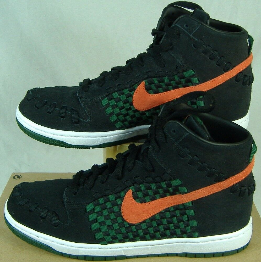 New Mens 11.5 NIKE Dunk Woven High Top Black Checkered Shoes 100 555030-080