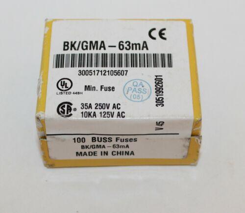Buss Cylinder Cartridge Fuse BK//GMA-100-R 35A 250V AC 10KA 125V AC 100Ct.