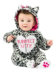 8be81ce9462 Infant Girls Plush Gray Leopard Print Purfect Kitty Costume Baby Cat ...