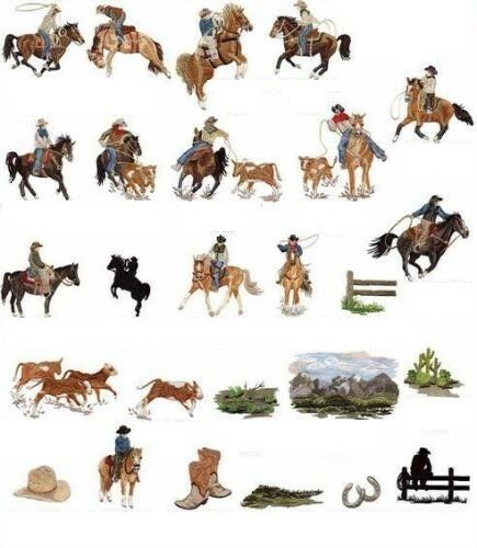 MACHINE EMBROIDERY DESIGNS ON CD OR USB COWBOYS OF THE WEST COLLECTION