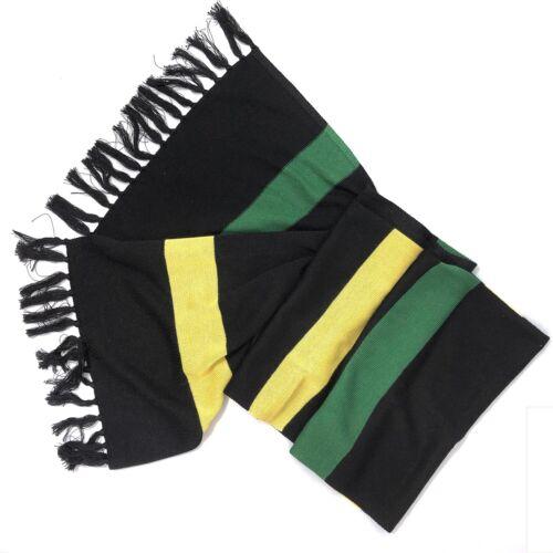 JAMAICA COLOURS BLACK YELLOW GREEN VISCOSE TASSELLED SCARF REGGAE CULTURE RASTA