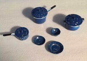 Doll-House-Miniature-Blue-Graniteware-Pots-amp-Pans-amp-Lids-9-piece-set