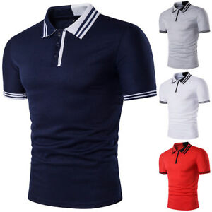 New-Fashion-Mens-Stylish-Casual-T-Shirts-Slim-Fit-Short-Sleeve-POL-Shirt-Tops