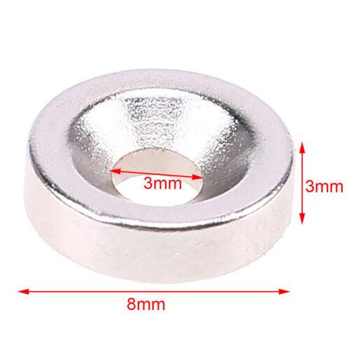 50stk N50 Erden starke Neodym Ring Magnete Magnetringe Bohrung Größe 3mm 8x3mm