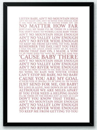 AI no no hay montaña lo suficientemente alta-Marvin Gaye Cartel obra de arte impresión letras de canciones