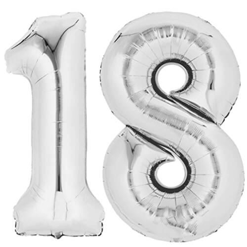 "Folienballon 80 cm SILBER /""18/"" Zahlenballon Luftballon Geburtstag Helium Zahl"