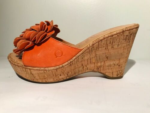 Born Leather wedge Coral Sandals w/flower detail … - image 1