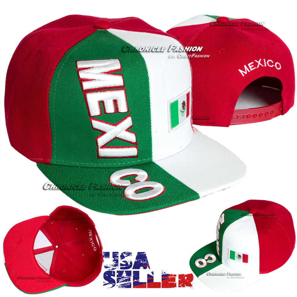 MEXICAN Hat Mexico Flag Baseball Cap Embroidered Snapback Flat Bill ... cf621c59380