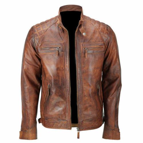 Men/'s Cafe Racer Quilted Distressed Vintage Motorcycle Biker Leather Jackets