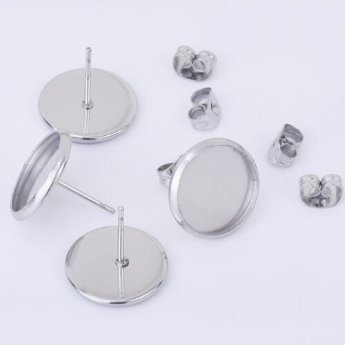 Stainless Steel Bezel Earring Studs round Earring Blanks DIY Craft Supply 30pcs