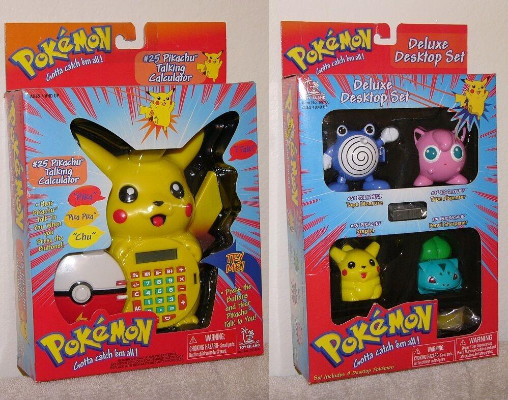 Autentisk Pokemon Pikachu Talking Calculator & Deluxe Desktop Stationery Set NY