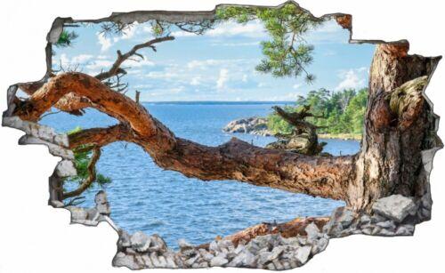 Baum Meer Strand Wasser Natur Wandtattoo Wandsticker Wandaufkleber C1538