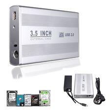 """3.5"""" USB 2.0 SATA HDD Disque Dur Boîtier Externe Enclosure + Cable Adaptateur"""