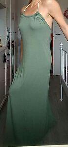 newest 96450 b6fbe Dettagli su Vestito abito donna verde militare lungo viscosa taglia un  stile impero corda