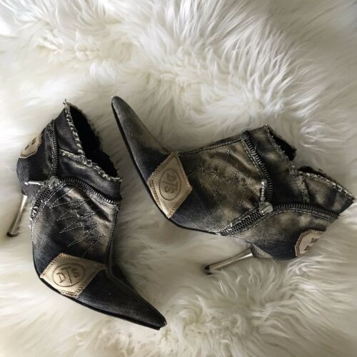 El Dantes Couture Booties Denim Distressed Pointed
