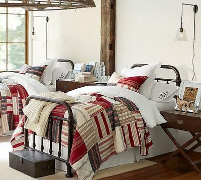 SET Pottery Barn Patchwork Multi Stripe King Quilt and 3 Euro Shams Excellent!!