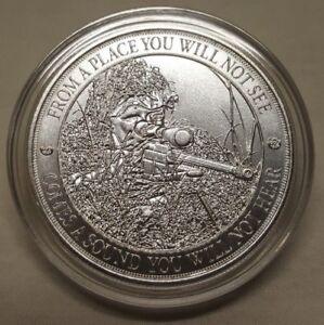 1oz American Sniper Rifle Gun 999 Fine Silver Round Coin
