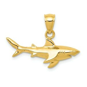 14K-Shark-Pendant-New-Charm-Yellow-Gold
