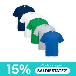 Set 5 T-Shirt FRUIT OF THE LOOM Cotone Original Vari Colori