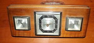 Art Deco Wetterstation Nussbaum Erfrischung Barometer Thermometer