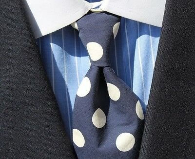 Boston Traders Gentleman's Navy Blue & White Dotted Necktie
