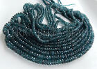 """7"""" strand AAA teal blue KYANITE faceted gem stone rondelle beads 3mm - 5mm"""