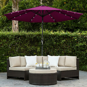 Details About 10ft Solar Powered LED Lighted Patio Umbrella Tilt Adjustment  Fade Resistant