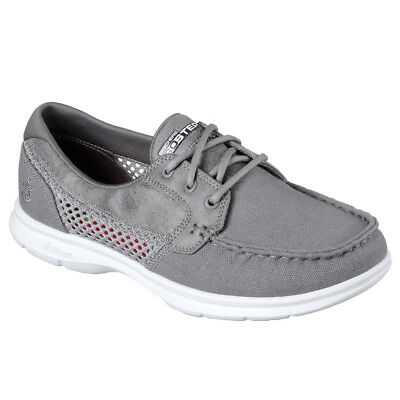 NEW SKECHERS Women Boat Shoes Sneakers Trainers Lace Up  GO STEP - NAVAL grey