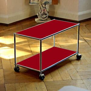 Details zu * Orig. USM Haller Lowboard TV Bank Sideboard Rubinrot * Regal  auf Rollen * Rot