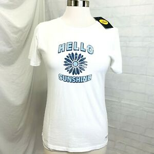 Life-Is-Good-T-Shirt-Tee-S-Womens-White-Blue-Hello-Sunshine-NEW-24-U