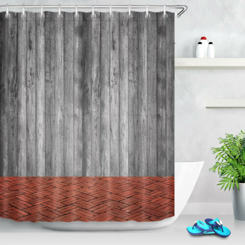 Rustic Wooden Wall and Red Brick Floor Waterproof Fabric Shower Curtain Liner